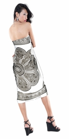 Lotus Floral Sarong in Black/White