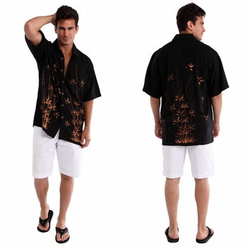 "Mens Hawaiian Aloha Shirt ""Bamboo Black"""