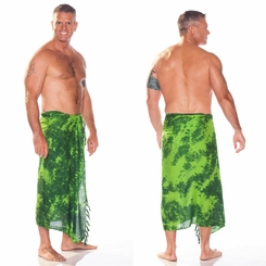 Mens Sarong in Lime / Dark Green Smoked