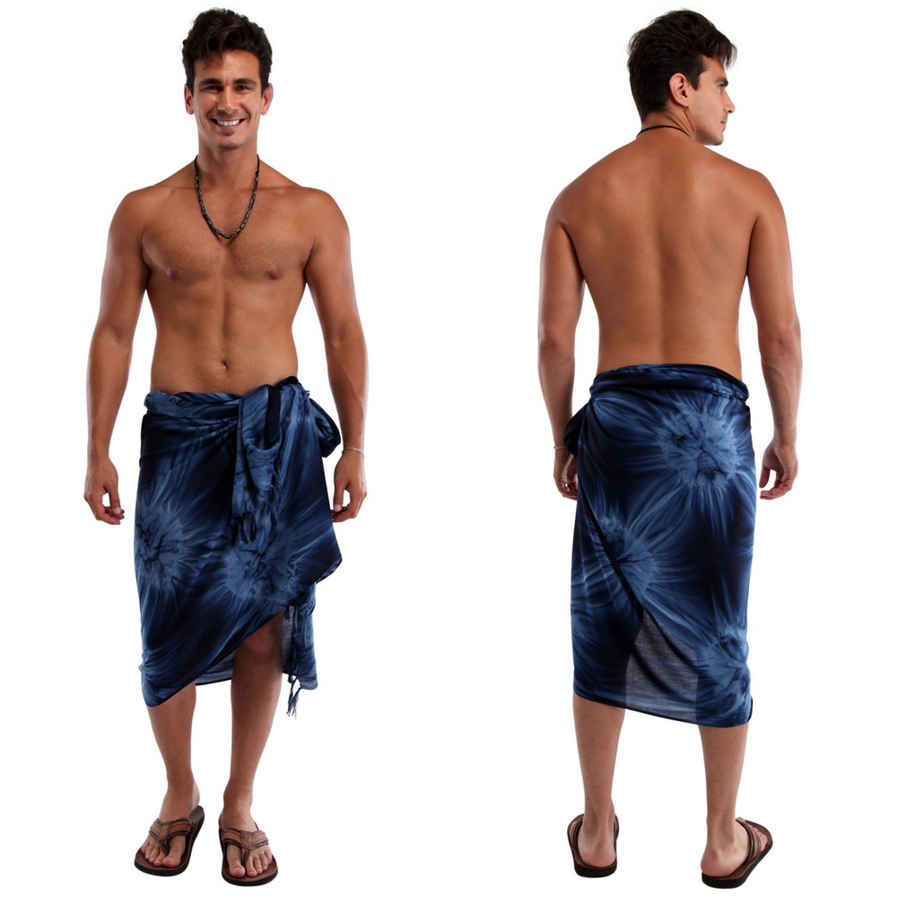 "Mens Sarong ""Navy Blue"" Smoked"