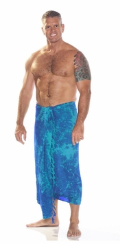 "Mens Sarong ""Turquoise Blue"" Smoked"