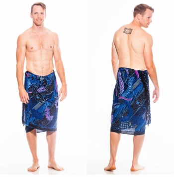 Mens Sarong With Traditional Motif Blue Pink