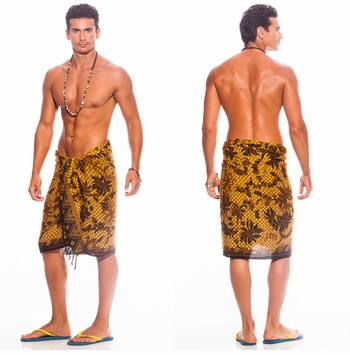 Mens Sarong With Traditional Motif Brown