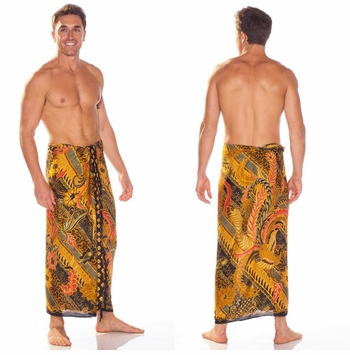 Mens Sarong With Traditional Motif Brown Green