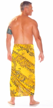 Mens Sarong With Traditional Motif Gold - Parang Rusak