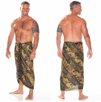 Mens Sarong With Traditional Motif Green - Parang Rusak