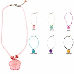 Mother of Pearl Hibiscus Charm Necklace 16 inches