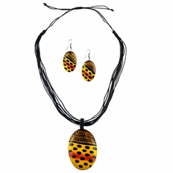 Oval Wooden Necklace and Earring Set With Feline Design