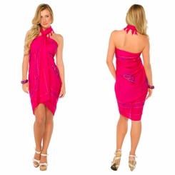 Hot Pink Sarong w/ Triple Embroidery