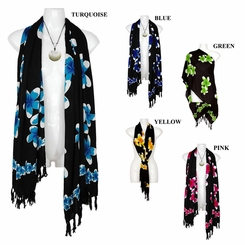 Plumeria Floral Motif Double Width Neck Scarf, Wrap or Shawl - in your choice of colors