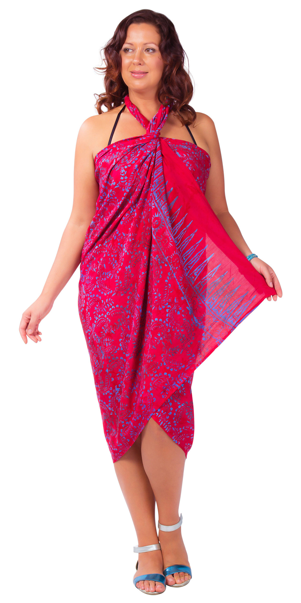 "Plus Size Abstract Floral Sarong ""Electric Love"" Pink and Purple"