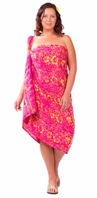 "Plus Size Abstract Floral Sarong ""Electric Love"" Red and Pink"