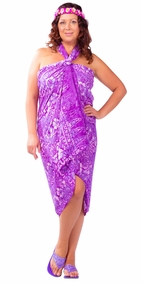 "Plus Size Abstract Floral Sarong ""Venus Shining"" Purple and White"