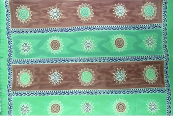Plus Size Baliku Fringeless Mens Sarong in Green And Brown