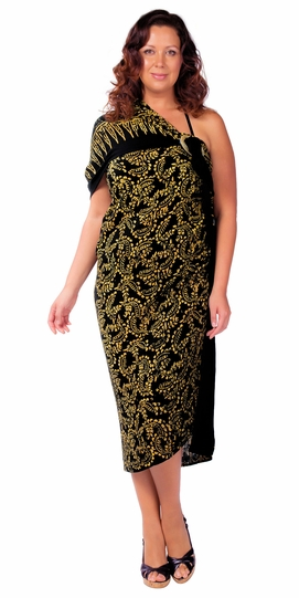 """Plus Size Abstract Floral Sarong Fringeless """"Glimmer Glam"""" Gold and Black"""