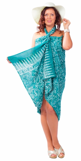 "Plus Size Abstract Floral Sarong Fringeless ""Dreamy Caribbean"" Turquoise and White"