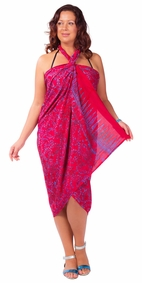 "Plus Size Abstract Floral Sarong Fringeless ""Wild Crimson"" Magenta and Purple"
