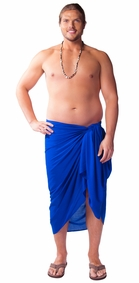"PLUS SIZE Mens Sarong ""Blue"""