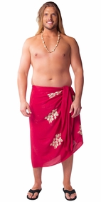 Plus Sized Hibiscus Flower Mens Sarong Burgundy
