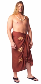 Plus Sized Hibiscus Flower Mens Sarong Milk Chocolate Brown