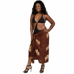 Plus Sized Hibiscus Flower Sarong Milk Chocolate Brown
