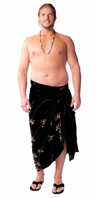 "Plus Sized Mens Sarong Bamboo ""Black"""