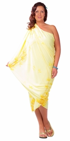 Plus Sized Sarong Bamboo Light Gold Fringeless