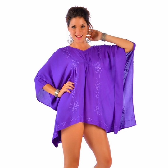 Purple Embroidered Poncho Cover-Up