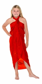 Red Embroidered Girls Sarong