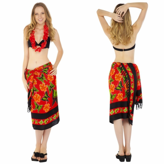 Red Multi Colored Butterfly Sarong