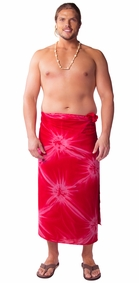 """Red"" Smoked Mens Sarong PLUS SIZE XL - 3X +"