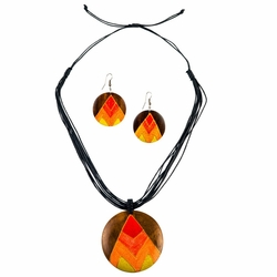 Round Wooden Necklace and Earring Set in Triangle-2 Design