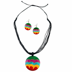 Round Wooden Necklace and Earring Set in Wave Design