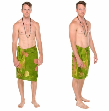 Seashell Mens Sarong in Green w/ Multicolor