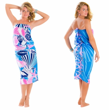 Seashell Sarong in Blue and Pink