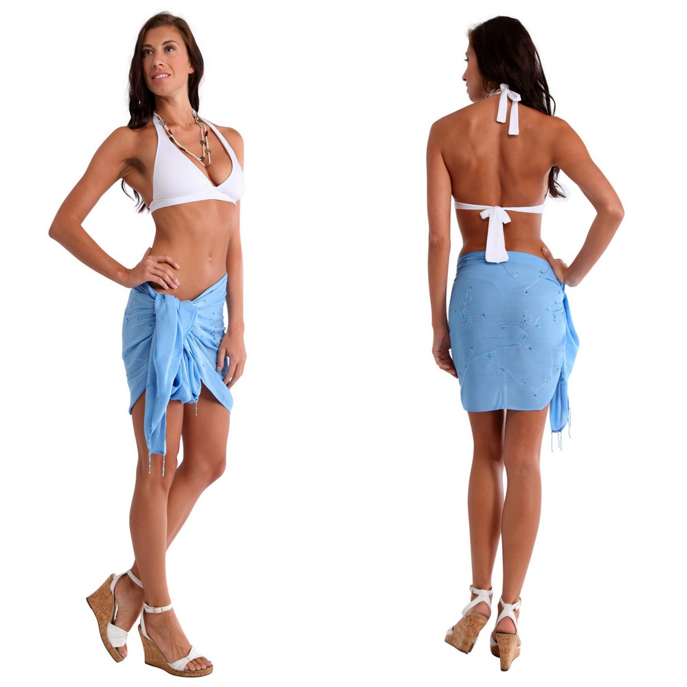 Sequined Embroidered Beaded Half Sarong Quot Light Blue Quot