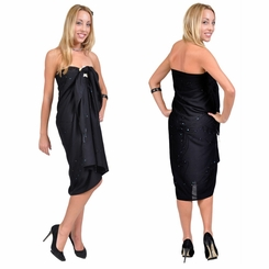 """Sequined / Embroidered / Beaded Sarong """"Black"""""""