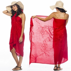 "Sequined / Embroidered / Beaded Sarong ""Red"""