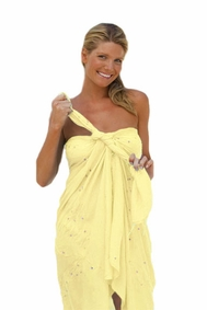 "Sequined / Embroidered / Beaded Sarong ""Soft Yellow"""