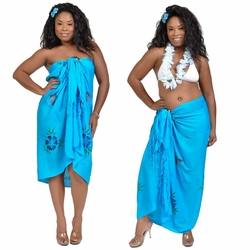 Sequined Embroidered Butterfly Sarong in Turquoise