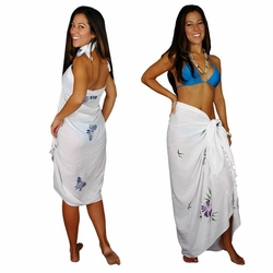 "Sequined / Embroidered / Butterfly Sarong ""White"""