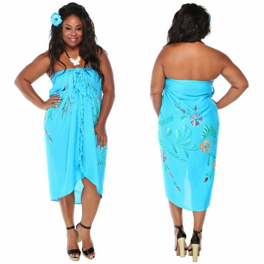 Embellished Flroal Sarong with Butterflies in Turquoise