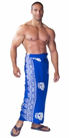 "Skull Mens Sarong ""Blue and White"""