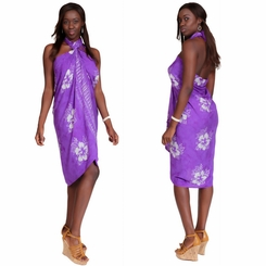 Smoked Hibiscus Sarong in Purple
