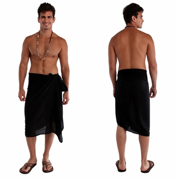 Solid Black Mens Sarong FRINGELESS
