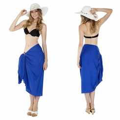 Solid Blue Sarong FRINGELESS
