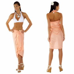 Solid Coral Sarong FRINGELESS