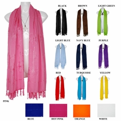 Solid Embroidered Extra Wide Neck Scarf, Wrap or Shawl - in your choice of colors