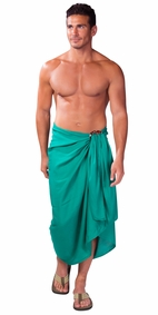Solid Green FRINGELESS Mens Sarong