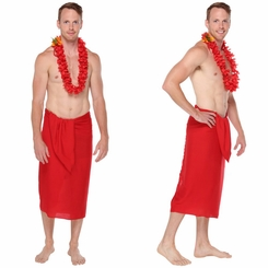 Solid Hot Red Mens Sarong FRINGELESS